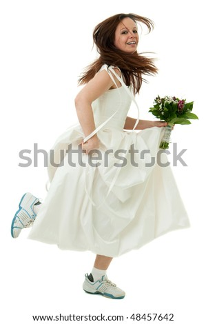 running bride holding bouquet on the white background - stock photo