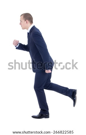 running business man in suit isolated on white background - stock photo