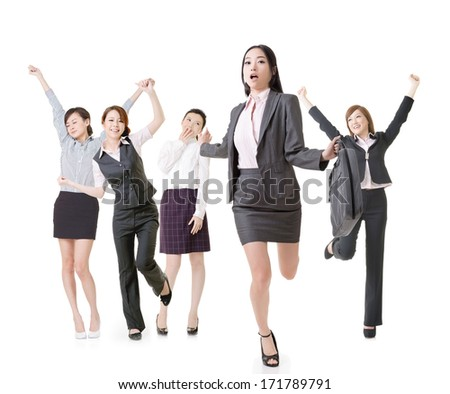 Running business woman lead her excited team, full length portrait of group people isolated on white background. - stock photo