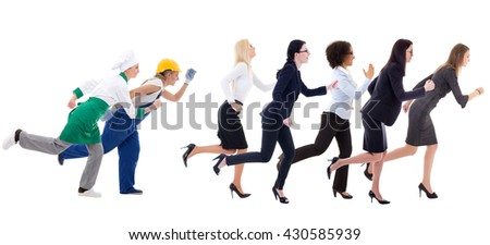running business women and service workers isolated on white background - stock photo