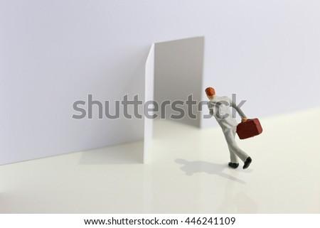 Running businessman - stock photo