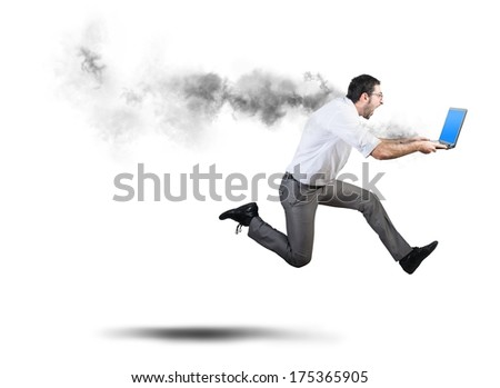 Running businessman has problems and errors with computer - stock photo