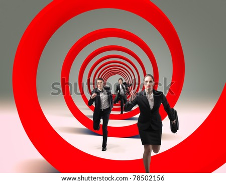running businesspeople and red 3d spiral - stock photo