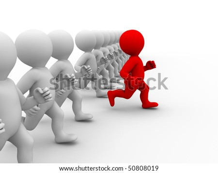 running characters and one of them got free onward - stock photo