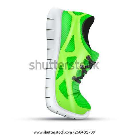 Running curved green sneakers. Bright Sport sneakers symbol. Illustration isolated on white background. - stock photo