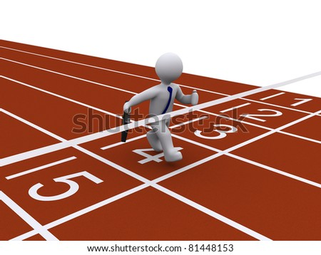 Running 3d businessman finishes the race first - stock photo