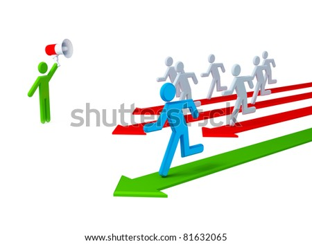 Running 3d small people. 3d rendered. Isolated on white background.