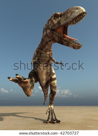 running dinosaur in desert - stock photo