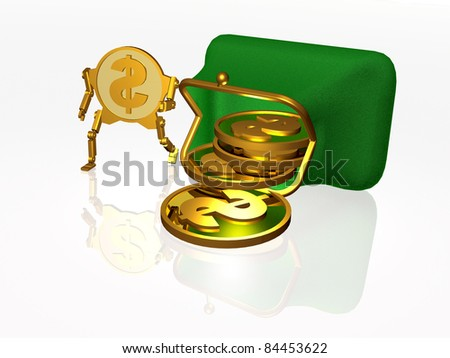 Running dollar coins on white background.