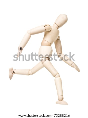 Running drawing doll isolated on white background