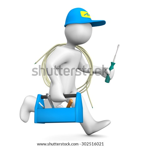 Running electrician with toolbox, cable and blue cap.  - stock photo
