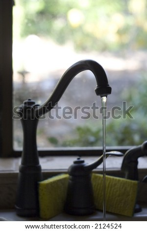 Running Faucet - stock photo