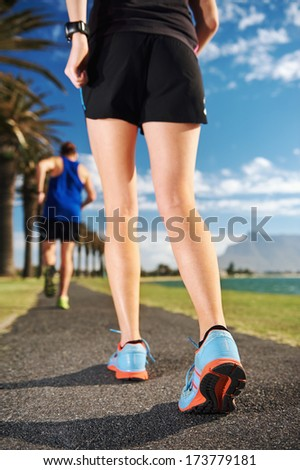 Running fitness couple workout for marathon training