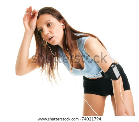 Running fitness women with mp3 player. Isolated on white - stock photo
