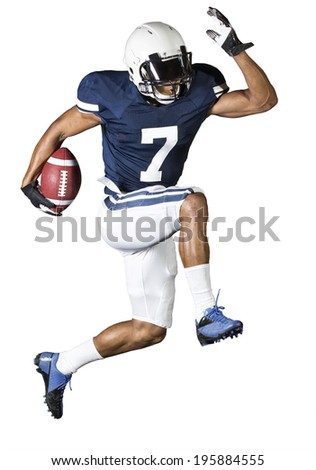 Running Football Player isolated on white - stock photo