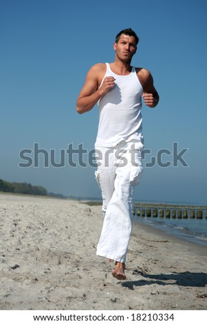 Running for business success in freetime - stock photo