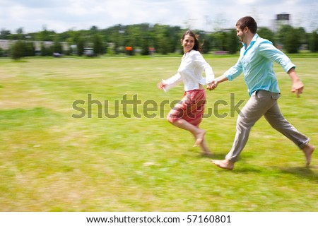 Running free and happy - stock photo