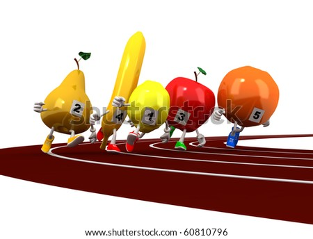 Running fruit - stock photo