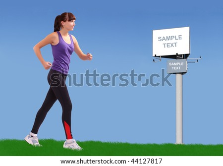 Running girl along spring meadows and bigboard. Conceptual image. - stock photo