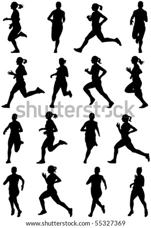 Running girl black silhouettes, sixteen different postures - stock photo