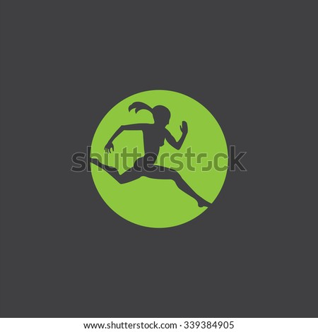 running girl cutted identity template icon design element