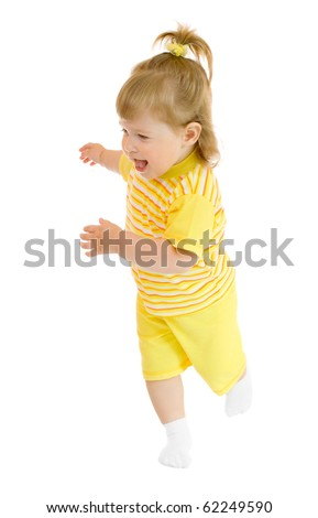Running girl in yellow shirt and pants isolated