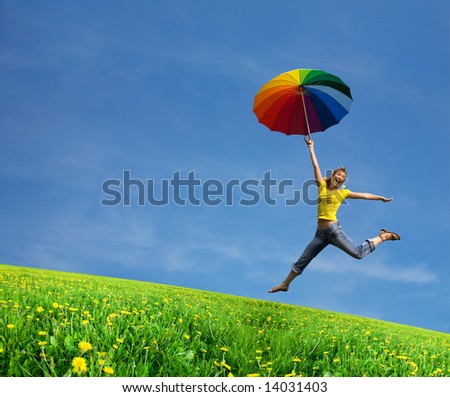 Running girl on the green green lawn - stock photo