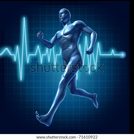 Running human with heart monitor symbol representing health and pulse rate