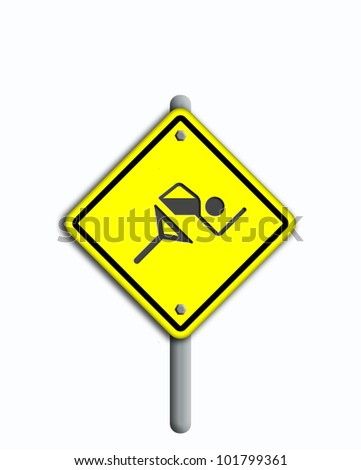 Running  icon in traffic plate  isolated on white background.
