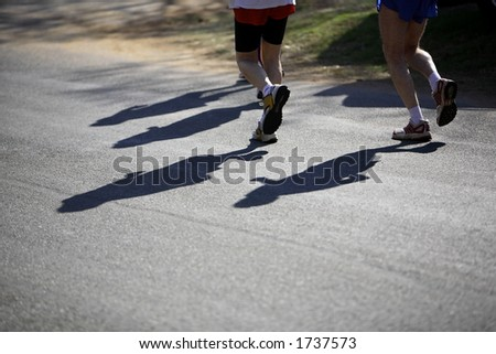 Running in a race - stock photo