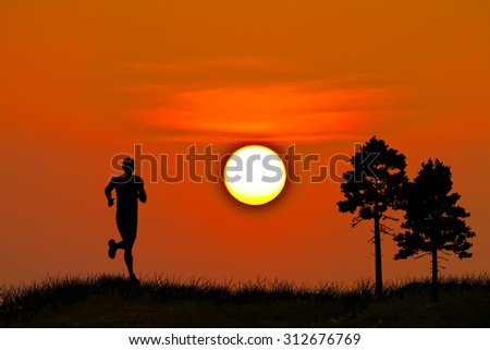 running in the morning - stock photo