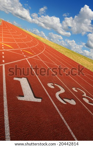 Running lanes at a steep angle during a bright sunny day - stock photo