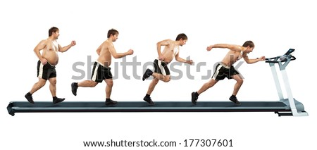 Running man at first full in the end of thin. Concept weight loss, exercise. Isolated on white background - stock photo