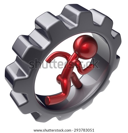 Running man character inside gearwheel human rotate cogwheel red stylized cartoon guy hamster person worker black gear wheel business career employment businessman concept. 3d render isolated on white - stock photo