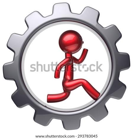 Running man character stylized red cartoon guy inside gearwheel human rotate cogwheel like run hamster person worker black gear wheel business career employment businessman concept. 3d render isolated - stock photo