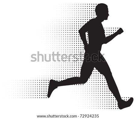 Running Man & Halftone Trail. Silhouette of a healthy man running at great speed with an abstract halftone trail following behind him.  Black and white illustration (gradient free).
