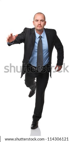 running man isolated on white background - stock photo