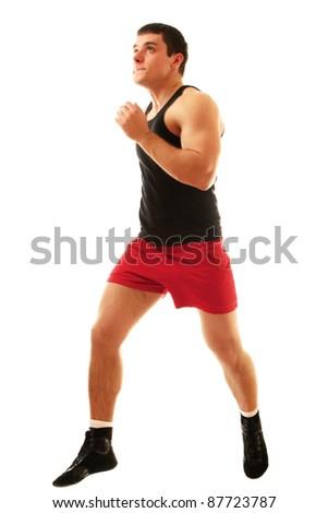 Running man isolated on white background - stock photo