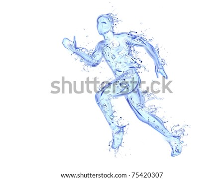 Running man liquid artwork - Athlete figure in motion made of water with falling drops - stock photo