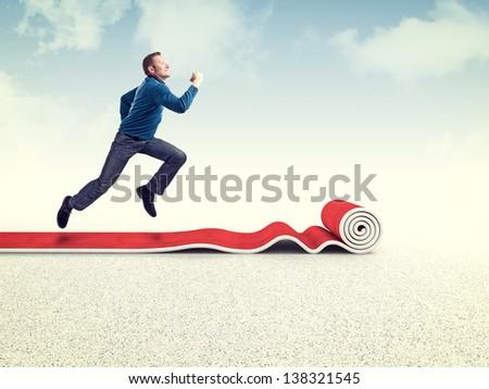 running man on 3d red carpet - stock photo