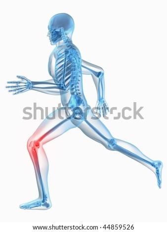 running man - painful knee - stock photo