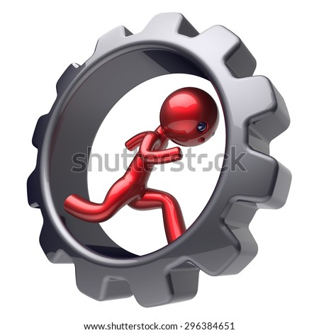 Running man red character inside gearwheel human rotate cogwheel stylized cartoon guy hamster person worker black gear wheel business career employment businessman concept. 3d render isolated on white - stock photo