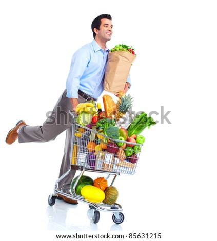 Running man with a shopping cart . Isolated over white background. - stock photo