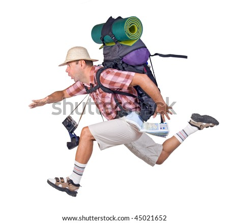 running man with backpack - stock photo