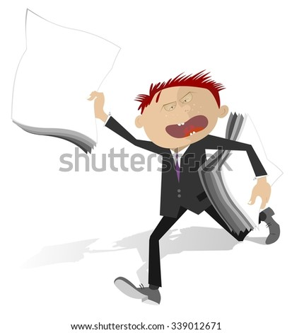 Running man with papers announces a sensation - stock photo