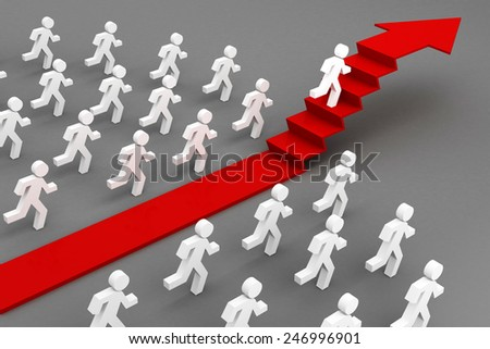running men competition 3d with red arrow stairs - stock photo