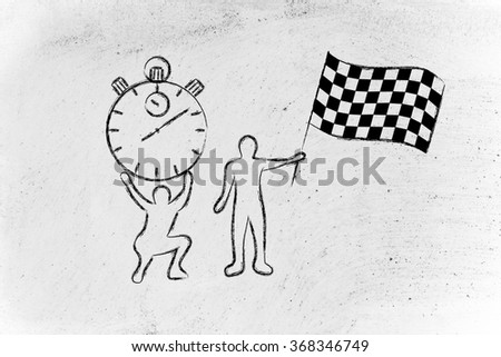 running on time: men with oversized stopwatch and checkered flag