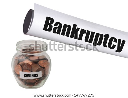 running out of savings and filing for bankruptcy - stock photo