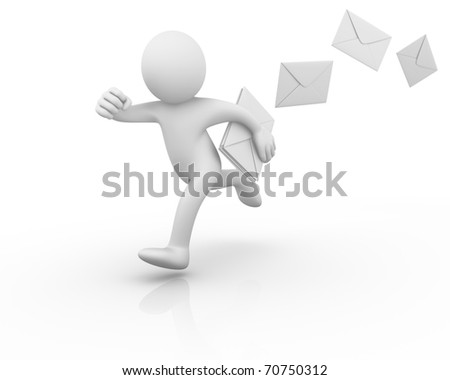 Running postman losing mails... - stock photo