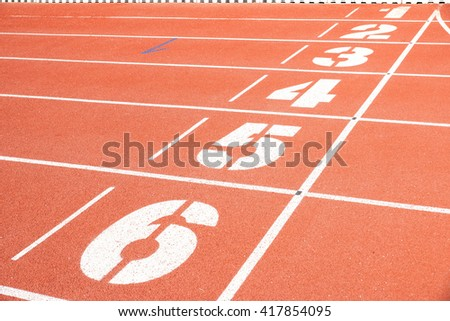 Running race lane - stock photo